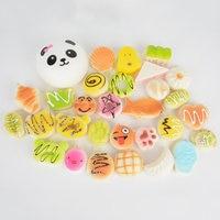 30Pcs Cute Mini Jumbo Soft Random Squishy Phone Strap Simulation Medium Soft Bread Panda Cake Buns