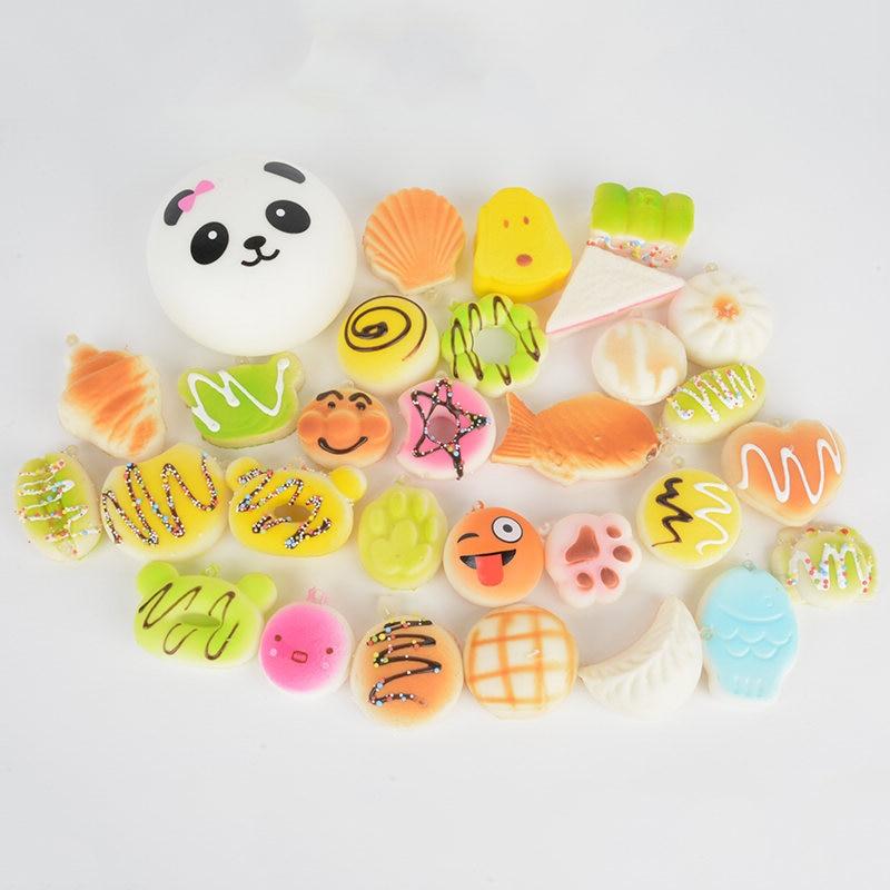 30Pcs Cute Mini Jumbo Soft Random Squishy Phone Strap Simulation Medium Soft Bread Panda Cake Buns Phone Straps Decor Gift