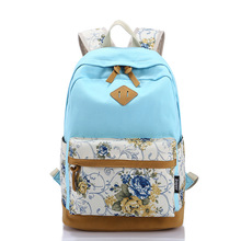2016 New Arrival Women Backpack 100% Canvas Flower Printing Women Casual Backpack Girl's Travelling Bags