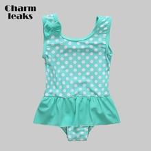 Charmleaks Baby Girls' One Piece Swimsuits Polka Dot Swimwear Ruffle Kids Bow-Knot Cute Bikini Beach Wear cute one shoulder polka dot print hollow out swimwear for girls