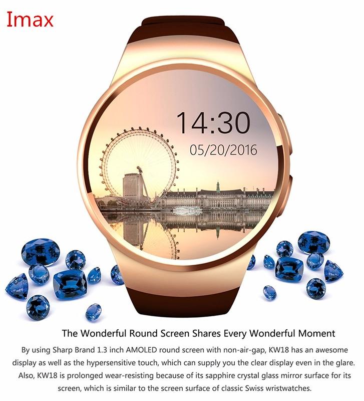 Smartch KW18 Reloj Inteligente SIM TF MTK2502 Heart Rate Monitor de Pantalla Tác