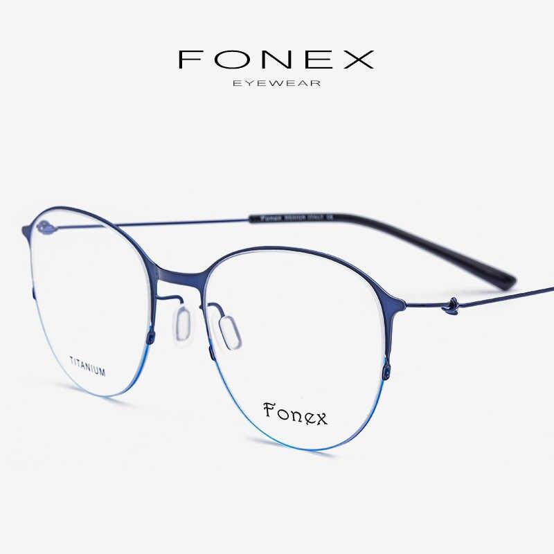 5cada84315 Gafas de titanio Marco de aleación de las mujeres Vintage redondo receta miopía  gafas ópticas de