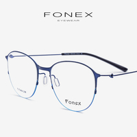 Titanium Alloy Eyeglasses Frame Women Vintage Round Prescription Myopia Optical Glasses Frame Men Korean Screwless Eyewear 98612