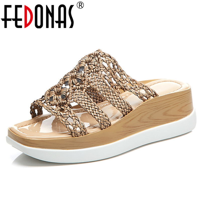 FEDONAS Fashion Novelty Cane Women Sandals 2019 Summer New Wedges Shoes Woman Round Toe High Heels Casual Basic Party ShoesFEDONAS Fashion Novelty Cane Women Sandals 2019 Summer New Wedges Shoes Woman Round Toe High Heels Casual Basic Party Shoes