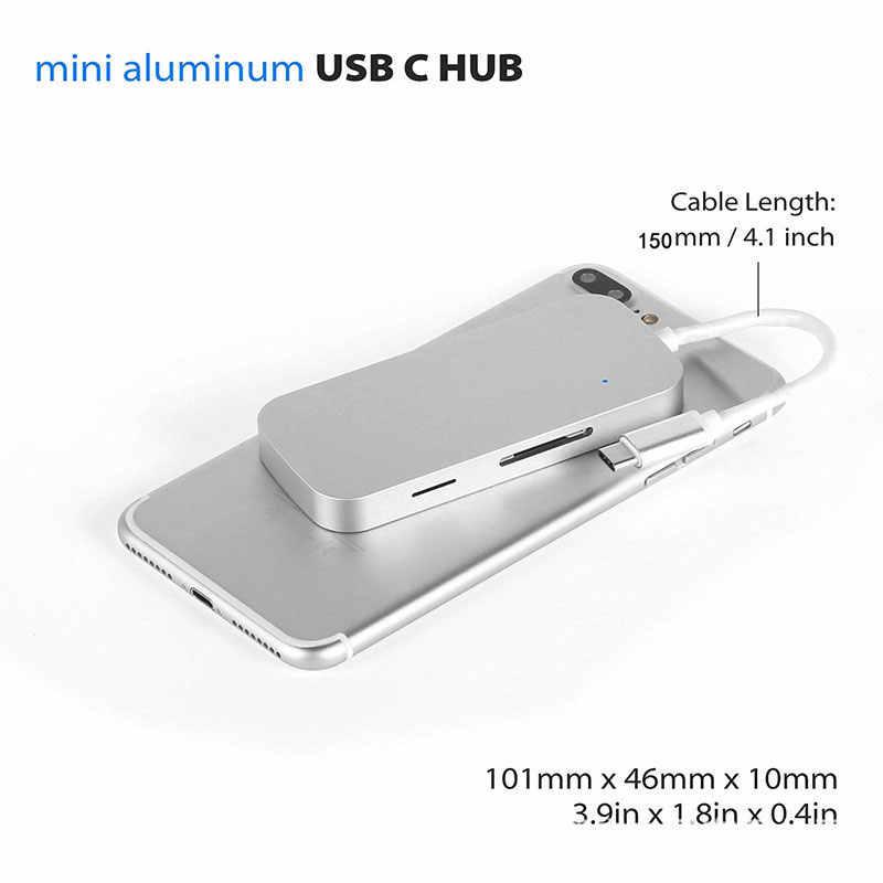 Adaptateur de moyeu de USB c multi-ports EASYA Hub USB 3.0 Hub USB type-c Dock avec fente de lecteur de carte SD TF argent pour MacBook Pro 2017