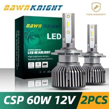 DAWNKNIGHT 2PCS H7 Led bulb H4 H1 H3 H8/H9/H11 H27/880 9005/HB3 9006/HB4 D2S(R/C) F4 CSP CHIP Headlight Bulb Mini Size