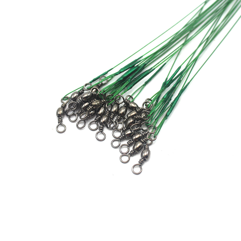 60Pcs Fishing Line Leader For Stainless Steel Wire Leader Cord Rope Fishing line Rolling Swivels 15cm 22cm 30cm Fishing Tools