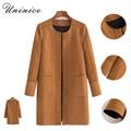 Outono jaqueta de Inverno mulheres casaco jacket moda básica faux suede mulheres blusão de Manga Longa Outwear 4E1460