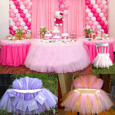 Tutu tulle table skirts baby shower decoration for high for Articles maison decoration