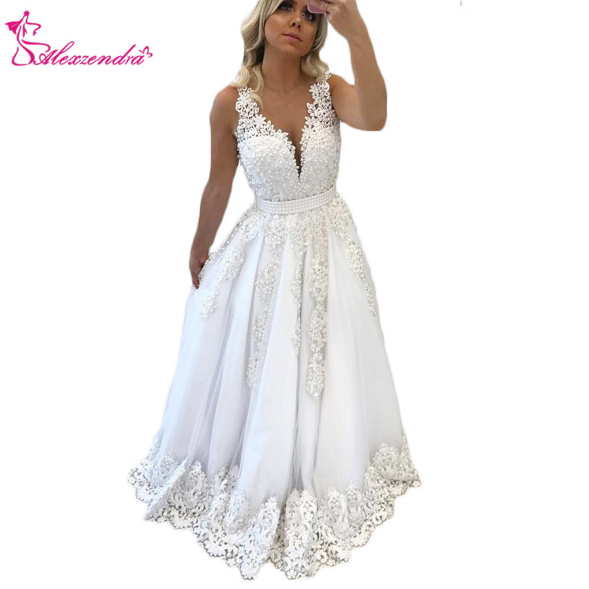 Alexzendra White V Neck New Prom Dresses Applique Pearls Long Formal Evening Dress Party Gowns Custom