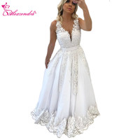 Alexzendra White V Neck New Prom Dresses Applique Pearls Long Formal Evening Dress Party Gowns Custom Made