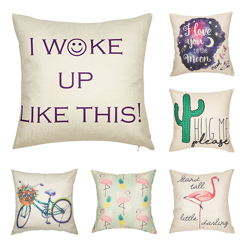 Cotton Linen Home Decorative Throw Pillow Case Cushion Cover for Sofa Couch 18 x 18