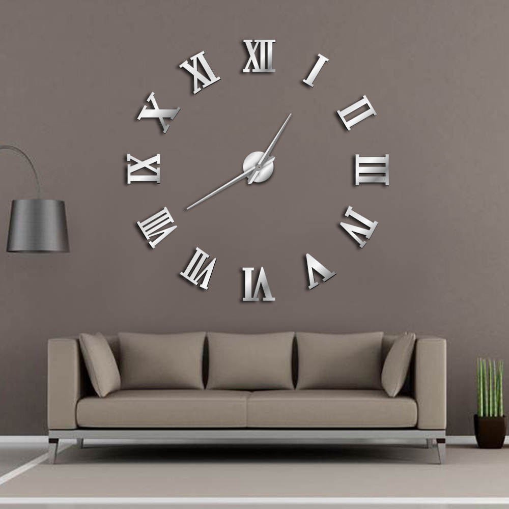 Buy Clock Us 10 79 10 Off Aliexpress Buy Modern Diy Large Wall Clock 3d Mirror Surface Sticker Home Decor Art Giant Wall Clock Watch With Roman Numerals
