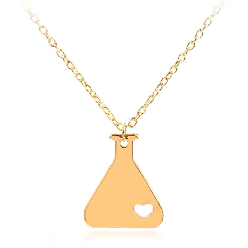 2018 модные длинные ожерелья Science Erlenmeyer, лабораторное ожерелье, романтическое ожерелье для мужчин, романтическое ожерелье, ошейник в форме се...