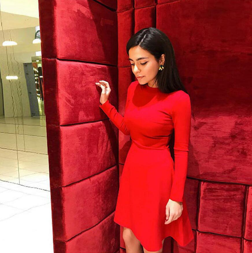 Fall Fashion 18 Women Long Sleeve Bodycon O-neck Casual Dress Winter Vintage Sexy Mini Party Dresses Autumn Clothes Vestidos 6
