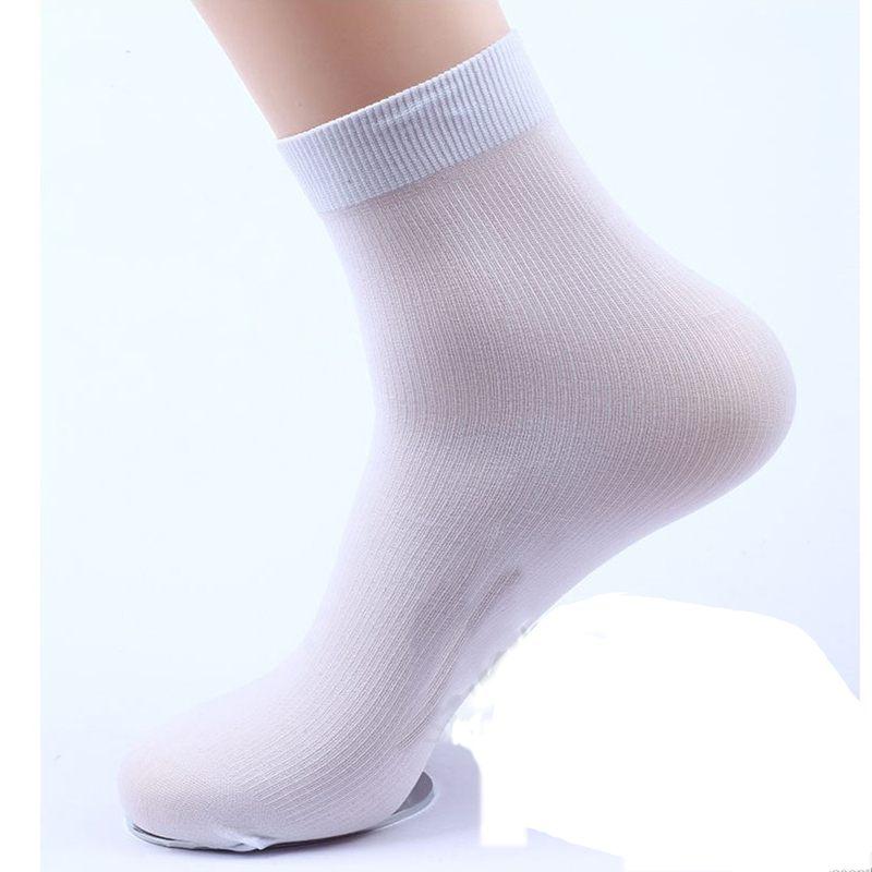 White 2 Pairs Fashion Ultra-Thin Male Breathable Socks Mens Bamboo Fiber Socks Solid Useful