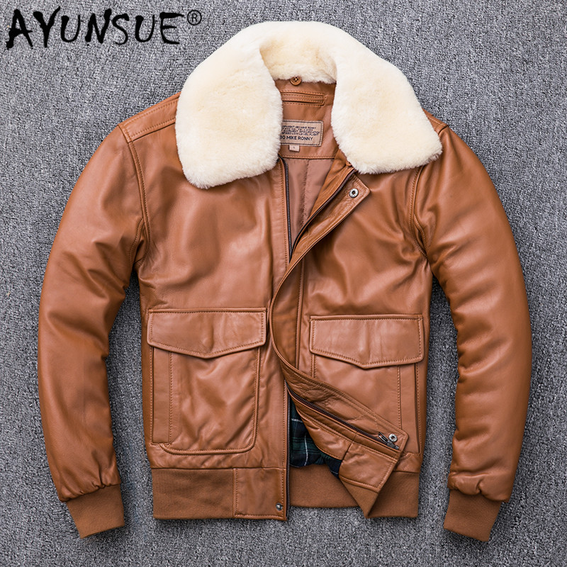 AYUNSUE Men's Leather Jacket Autumn Winter Genuine Leather Sheepskin Coat For Men Plus Size Bomber Jacket Parka 2019 KJ2537