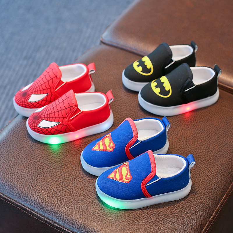 Children Spiderman LED Light Shoes Kids Fashion Brand Canvas Flasher Sport Shoes Boys Lighted Sneakers Size 21-30