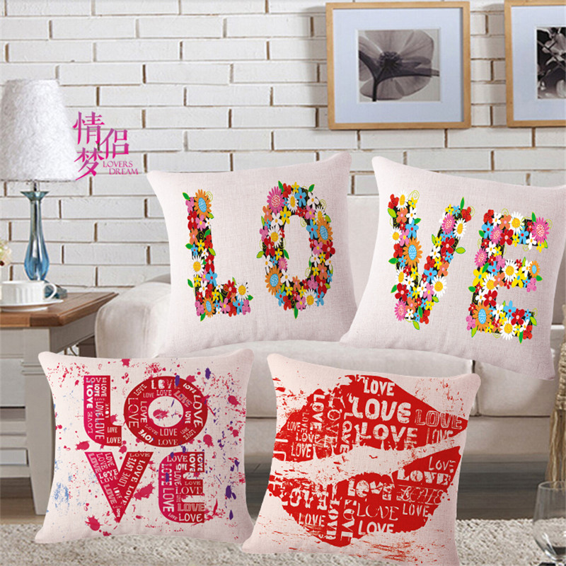 fashion high quality linen decorative graffiti red lips love pillow case decor sofa cushion covers removable