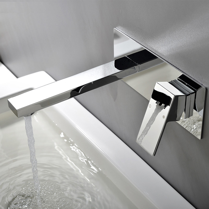 All copper cold and hot concealed basin faucet with embedded box into wall type upper and lower basin single handle faucet