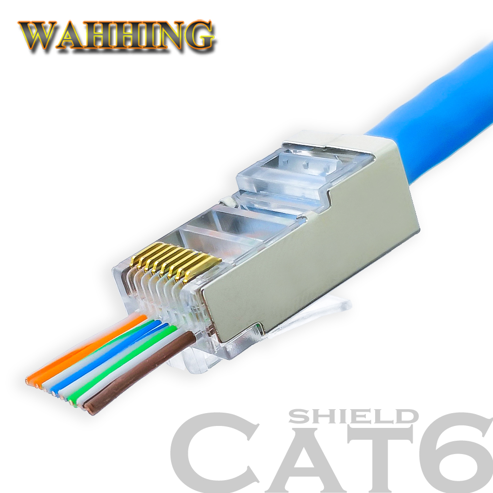 50/100pcs RJ45 Connector Cat5e Cat6 Network Connector Shielded Modular 8Pin Rj45 PlugUTP  Terminals Have Hole HY1549