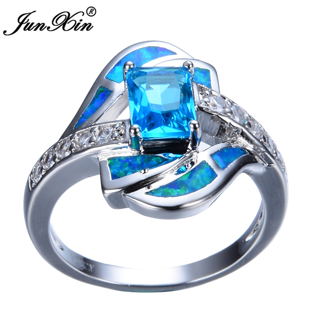 JUNXIN Fashion Ocean Blue Opal Rings Male Female White Gold Filled