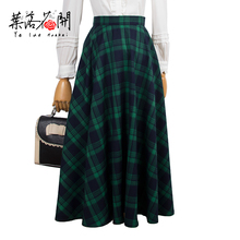 379f10fff30 40- women vintage 50s high waist circle skirt in green tartan plus size  saia rockabilly pinup skirts faldas jupe ekose etek
