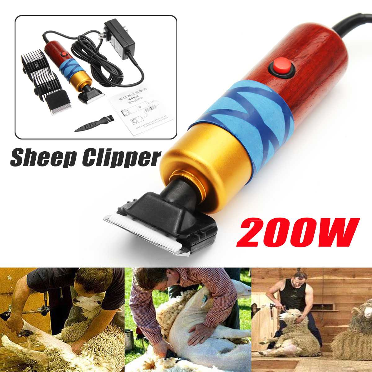 Tools : 200W Electric Sheep Clipper Professional Dog Grooming Kit For Rabbit Pet Dog Grooming Tools 100-240V