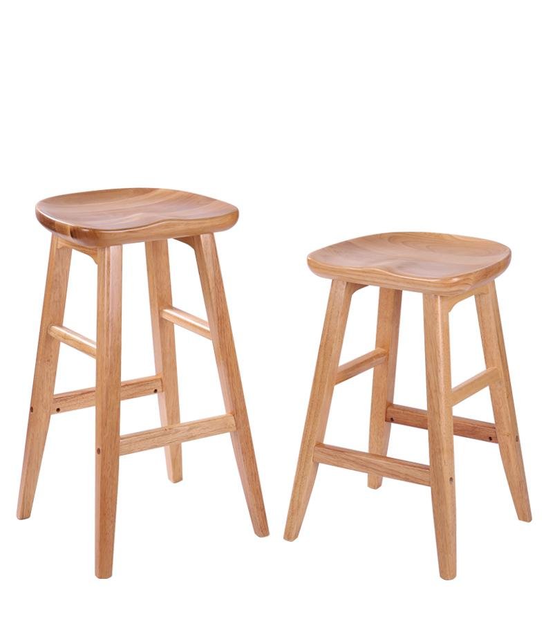 Solid wood bar stool American modern minimalist front desk stool creative European home high bar stool