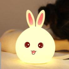 Remote Control RGB Rabbit LED Night Light For Children Baby Kids Bedside Lamp Multicolor Silicone Nightlight
