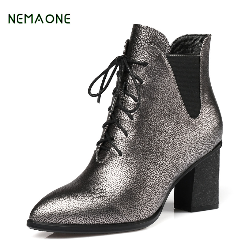 NEMAONE new Brand Autumn Winter Genuine Leather Suede Ankle Boots High Quality Wipe Color Fashion Women's Boots New Short Boots de la chance autumn winter genuine leather suede ankle boots wipe color fashion women s boots new short boots ladies shoes