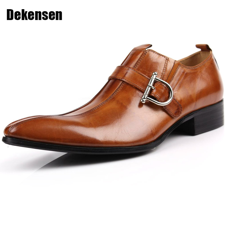 Fashion Formal Mens Dress Shoes,Pointed Toe Buckle Genuine Leather Shoes,luxury brand men's wedding flats office business shoes dark wine red wooden watch display box automatic switch and lock watches case jewelry storage holder organizer free shipping