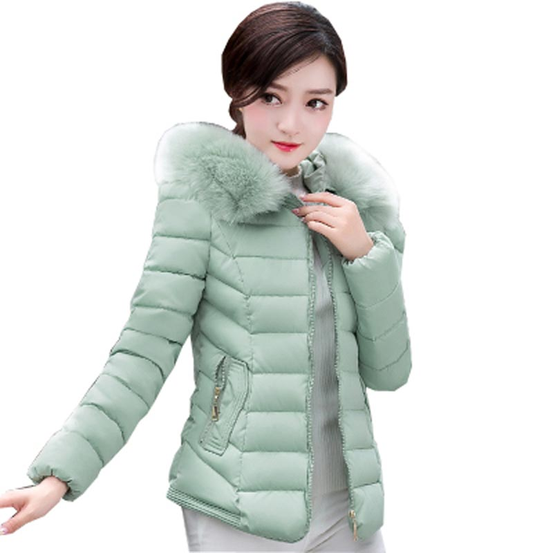 ФОТО new fashion big yard winter warm women jacket hooded faux fur collar down cotton-padded outerwear women short slim coat kp0720