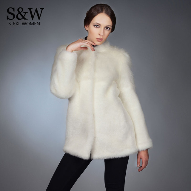 White Furry Coat Winter Women Faux Mink Fur Coat White Rabbit Fur ...
