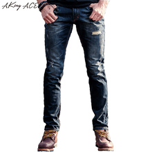 AKing ACE High quality Ripped Jeans Distressed men Skinny Mens broken jeans pants denim slim destroy trousers 28-34 ,ZA256
