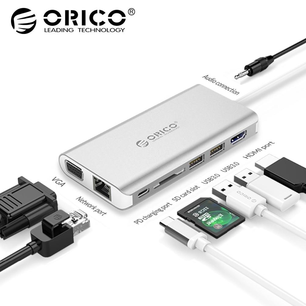 ORICO 8 в 1 USB концентратор USB-C к HDMI RJ45 концентратор для MacBook samsung Galaxy S9 примечание 9 huawei P20 Pro Тип C USB 3,0 концентратор