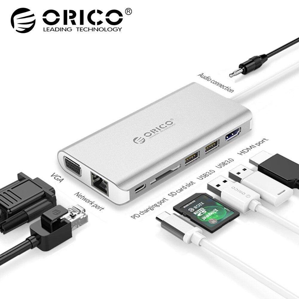 ORICO 8 dans 1 USB HUB USB-C À HDMI RJ45 HUB Pour MacBook Samsung Galaxy S9 Note 9 Huawei P20 pro Type C USB 3.0 HUB