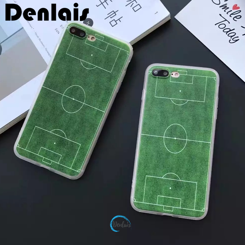 Fashion Green Lawn Football Field Phone Bag Case for iPhone X 5 SE 5s 6 6s 7 8 Plus Soccer Cove Protect Grass Matte Coque Fundas