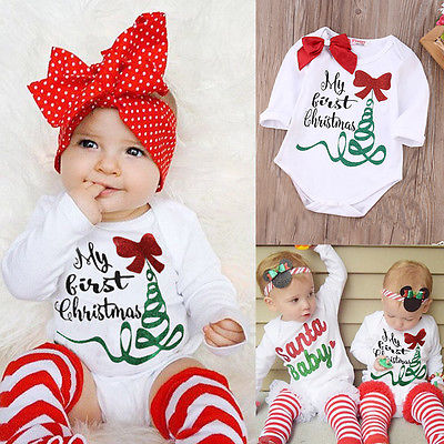 Cute Newborn Baby Girl Long Sleeve Bodysuit Jumpsuit My First Christmas Outfits Autumn Kids Suit my christmas cd