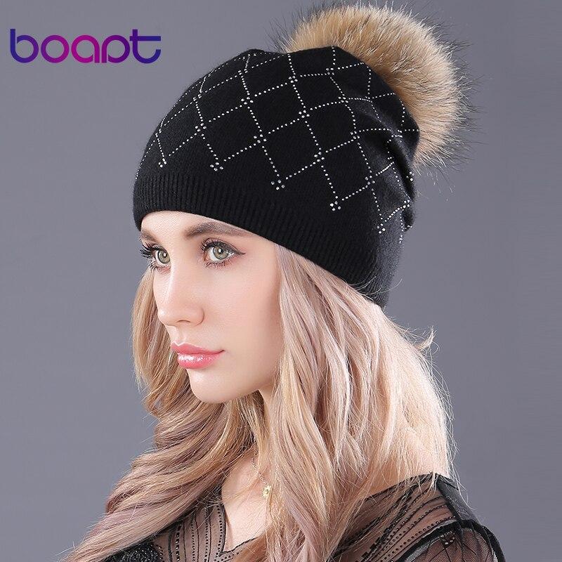 [boapt] rhinestones soft wool knitting caps raccoon fur fluffy pompon casual female winter   skullies     beanies   hat for women's hats