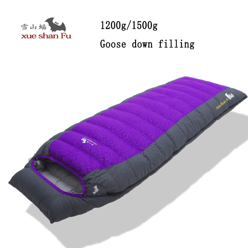 Xueshanfu goose down filling high quality 1200/1500g goose down filling outdoor camping comfortable breathable sleeping bag