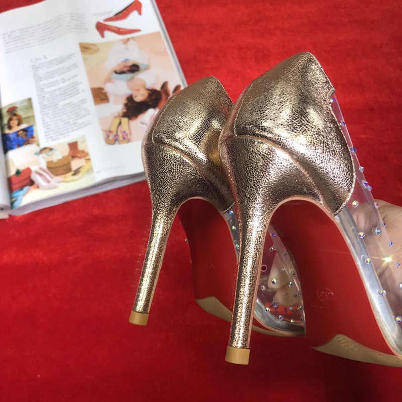011c723499e Famous Shoes Woman Lady Pumps Red Bottom Clear Crystal High Heels  Transparent PVC Wedding Marriage 8CM 10CM 12CM Dress Party