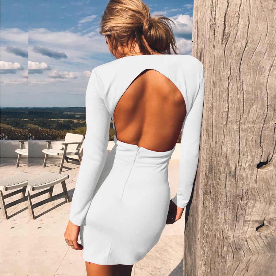 Głębokie V seksowna Mini sukienka kobiet Backless Hollow Tight z długim rękawem sukienka asymetryczna kobiety mody na co dzień wąskie sukienki damskie