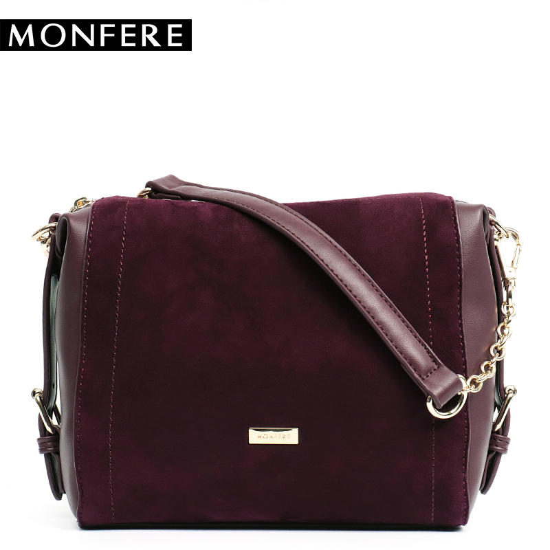MONFERE Vintage Nubuck Leather Small Female Bags Real Split Suede Leather with Pu Women Shoulder Bags Pillow Messenger Bag Purse
