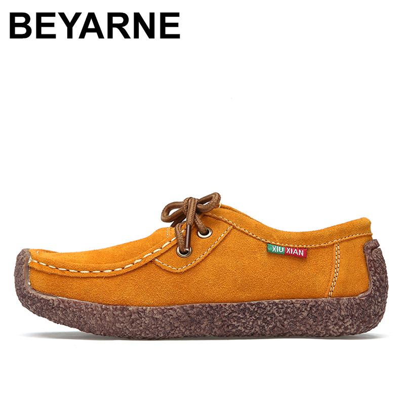 BEYARNE  Fashion Woman Casual leather Shoes Wild Lace-up Women Flats Warm Comfortable Concise Woman Shoes Breathable Female Shoe 2017 summer new fashion women flats comfortable solid women casual shoes wild lace up loafers leisure warm ladies shoes dvt90