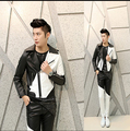 Free Shipping 2015 New Men Fashion Big Yards Cultivate One's Morality Nightclub Color Matching The Stylist Men's Leather Jackets