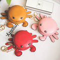 Delicate New Women Girl Cute Round PU Leather Body Mini free Shipping Cartoon crab lovely three-dimensional coins bag Pendant