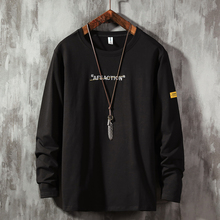 Autumn Male Long Sleeve T-Shirt Letter Embroidery Men's T-Shirts O-Neck Comfortable Black White Blue Long Sleeve T-Shirt