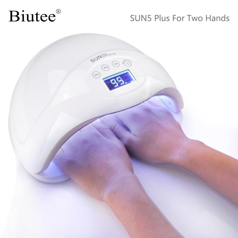Biutee SUN5 Plus 48W UV LED Lamp Nail Dryer Dual Hands Nail Lamp Curing For UV Gel Nail Polish With LCD Timer Display Sensor