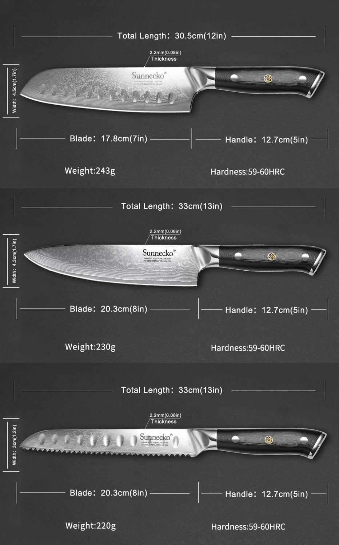 Image 5 - SUNNECKO 5PCS Kitchen Knives Set Chef Bread Paring Santoku Utility Knife Japanese Damascus VG10 Steel Cooking Tools G10 HandleKnife Sets   -